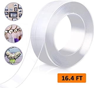 Nano Adhesive Tape Double Sided Washable Magic Silicone Tape, Traceless Removable Reusable Tape Clear Gel Grip Tape for Crafts Paste Photos Fix Carpet Mats or Office Wall Decor/White