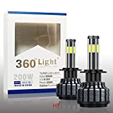 JGRT_CarLight 360Degree6 Sides H7 LED Headlight Bulbs Conversion Kit 200W 20000LM LED CSP Chips For Car Truck Motorcycle High&Low Beam Light Bulbs Replacement