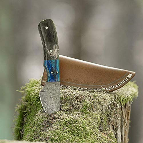 elToro Wood Horn - Damast - Jagdmesser - 7cm - inkl. Lederscheide; Messer für Camping, Outdoor, Survival