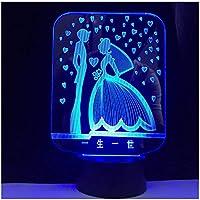 3Dイリュージョンナイトライト ロマンチックな結婚式 スマートタッチ キッズ3Dナイトライトベッドサイドランプおもちゃライト7色変更コントロール男の子のための最高のクリスマスと誕生日プレゼント子供