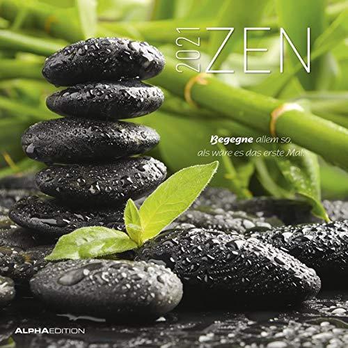 Zen 2021 - Broschürenkalender 30x30 cm (30x60 geöffnet) - mit Lebensweisheiten - Bild-Kalender - Wandplaner - mit Platz für Notizen - Alpha Edition