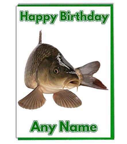 Geburtstagskarte Karpfen/Fisch, personalisierbar, hochwertig, Elfenbeinfarben