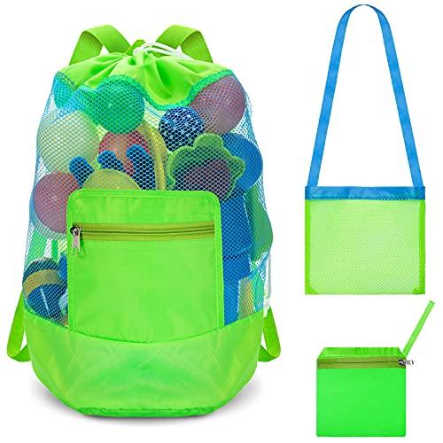 Bolsa de Playa Grande Mochila de Playa con Cordón Bolsa de Malla de Almacenamiento de Juguetes con un Solo Hombro Bolsa de Malla Pequeña para Niños Adultos Acampar Playa Deportes (Verde)