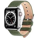 Fullmosa Kompatibel Apple Watch Armband 42mm 44mm in 8 Farben, Stoff Leinen Style für iwatch Armband 42mm Serie SE/6/5/4/3/2/1, Armeegrün 42mm/44mm