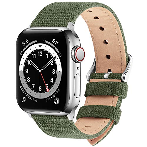 Fullmosa Cinturino per Apple Watch 42mm/44mm, Cinturini in Tela di Ricambio Compatibile con iWatch SE, Apple Watch Serie 6/5/4/3/2/1, Fibbia in Acciaio Inossidabile, 42mm(44mm), Verde