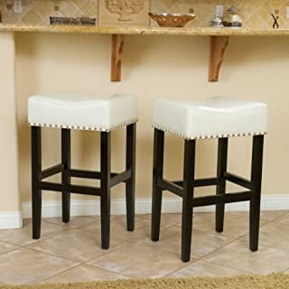Christopher Knight Home Camilla Ivory Leather Backless Bar Stools w/Chrome Nailheads (Set of 2)