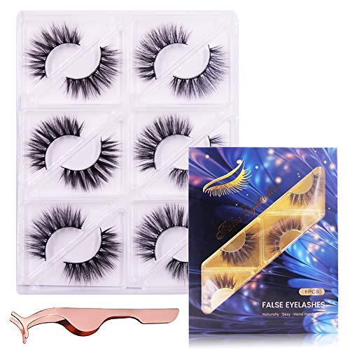 ENYACOS eyelashes pack,2styles 3d faux mink lashes multipack,false eyelashes Fluffy Volume,wispy fake lashes. (s1)