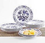 Kahla 170620M72067U Zwiebelmuster Geschirrset für 6 Personen Tafelservice Porzellan Tellerset 12-teilig Suppenteller 22 cm Speiseteller 23,5 cm Teller Set...
