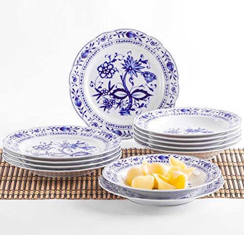 Kahla 170620M72067U Zwiebelmuster Geschirrset für 6 Personen Tafelservice Porzellan Tellerset 12-teilig Suppenteller 22 cm Speiseteller 23,5 cm Teller Set blauweiß