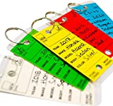 Car Key Tags , Self Laminating Plastic Automotive Key Tags with Ring, Round Corner, Bulk Car Dealer Supplies, Multi Color , Box of 250