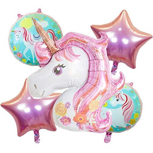 DIWULI, großes Ballon-Set, 1x XXL Einhorn-Luftballon + 2 süße Unicorn Folien-Ballons + 2 Stern-Ballons für Geburtstag, Mädchen Kindergeburtstag, Hochzeit, Motto-Party, Dekoration, Folien-Luftballons