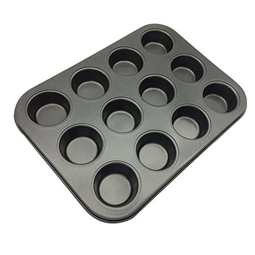 12-Cup Mini Cake Egg Tart Mold Muffin Cupcake Baking Pan(1 Pack, Carbon Steel)