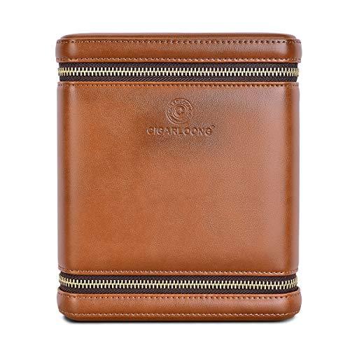 CIGARLOONG Cigar Humidor Travel Case Built-in Cedar Wood Portable 6 Cigars Box (Brown)