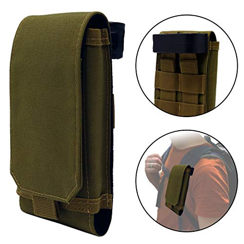 Clakit XL Smartphone Strap Pack - Backpack Shoulder Strap Pocket (Olive) - Backpack Attachment for Hikers, Travelers, Students, and Commuters