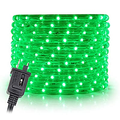 "WYZworks 100 feet 1/2"" Thick Green Pre-Assembled LED Rope Lights with 10', 25', 50', 150' Option - Christmas Holiday Decoration Lighting 
