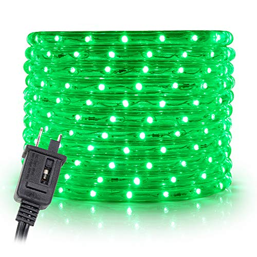 WYZworks 50 feet 1/2' Thick Green Pre-Assembled LED Rope Lights with 10', 25', 100', 150' Option - Christmas Holiday Decoration Lighting | UL Certified