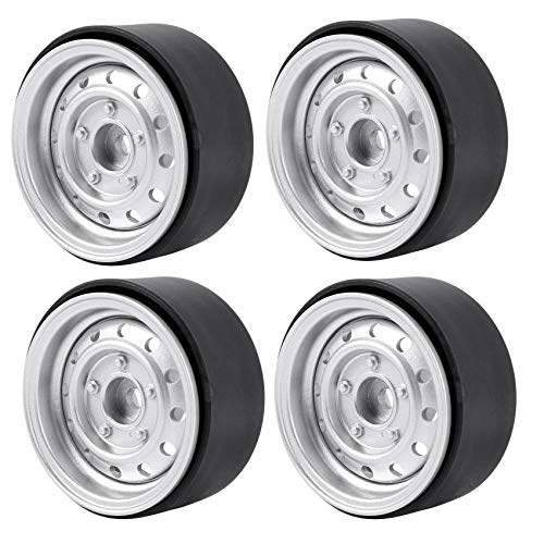 Haudang Lot de 4 moyeux de roue en métal 1,9' Beadlock pour jantes 1/10 RC Crawler Auto Axial Scx10 90046 Trx4 D90 D110 12 petits LLCher, argent