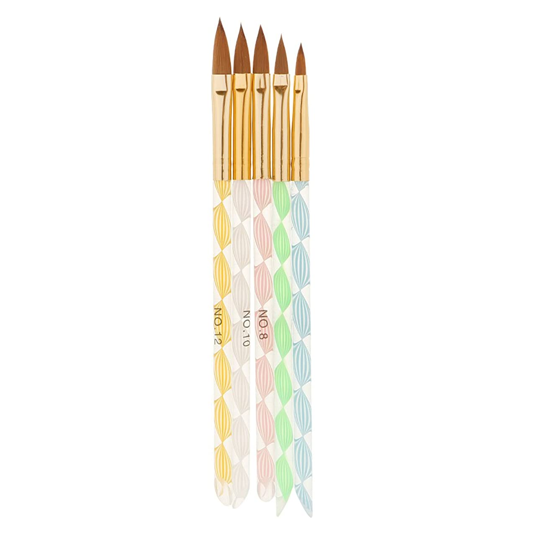 授業料暖かさ耳P Prettyia 5本セット ネイルアート デザイン ブラシキット ペイント マニキュアツール 描画 磨き ブラシ