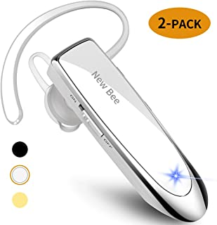 [2 Pack] New bee Bluetooth Earpiece Wireless Handsfree Headset 24 Hrs Driving Headset 60 Days Standby Time with Noise Canc...
