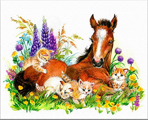7Dots Art. Baby Horses. Watercolor Art Print, Poster 8'x10' on Fine Art Thick Watercolor (Aquarelle) Paper for Children's Room, Bedroom, playroom, Bathroom. Nice, Cute Painting for Kids. (5)