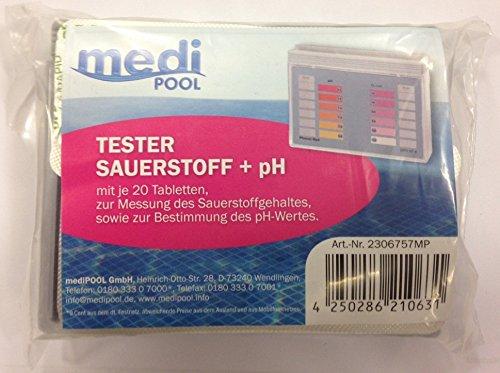 Testeur ph, mini Testeur, Testeur oxygène avec 40 Comprimés, Medipool