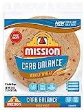 Mission Carb Balance Burrito Whole Wheat Tortillas, Low Carb, Keto, Whole Grains, High Fiber, No Sugar, Large Size, 8 Count