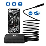 MoKo WiFi Endoscope 2.0 MP HD Wireless Borescope Inspection Camera 11.5Ft Semi-Rigid Snake
