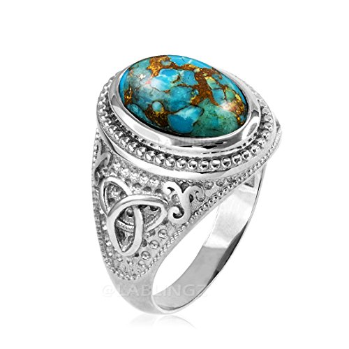 Sterling Silver Celtic Triquetra Blue Copper Turquoise Statement Ring (15)