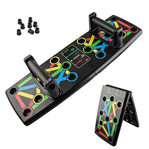 Push Up Rack Board, Tabla de Empújar Portátil Multiparte 14 en 1, Maquinas Plegables Codificadas por Color para Hacer Ejercicio para el Entrenamiento Muscular del Brazo en Interiores (negro)