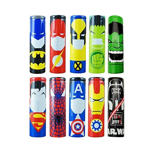 10PCS 18650 Battery Sleeves / Wraps, 29.5mm PVC batterie de la chaleur Gaine thermorétractable Wraps, Heat Shrink PVC Battery Sleeve Shrink Film Replacement – 10PCS Super Héros