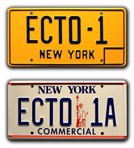 Ghostbusters 1 & 2   ECTO-1 + ECTO-1A   Metallkennzeichen Combo