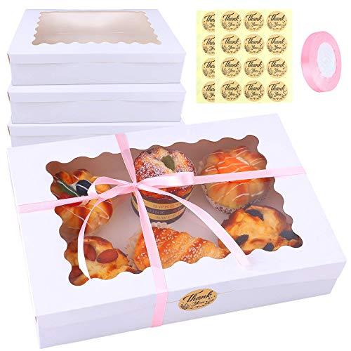 Ruisita 15 Stück Kuchen-Boxen mit Fenster, Kraftpapier, Plätzchenboxen, automatische Pop-up-Boxen, Keks-Geschenkboxen, rechteckig, 30,5 x 20,3 x 6,3 cm, für Kuchen, Gebäck, Donuts und Muffins