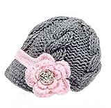 Sombrero con visera Bestknit para niña bebé, hecho a mano, de punto de cruz...