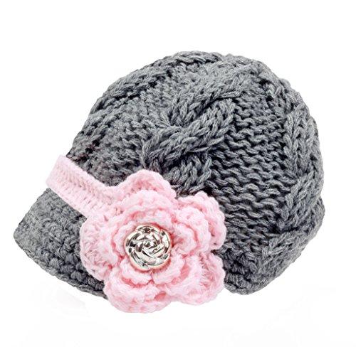 Sombrero con visera Bestknit para niña bebé, hecho a mano, de punto de cruz Gris gris S