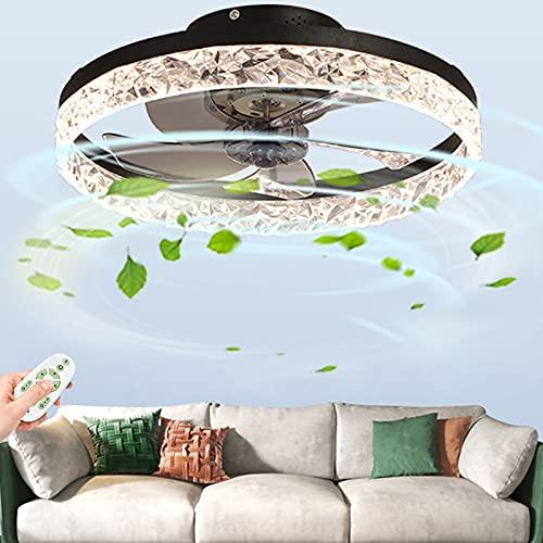 Ventilador De Techo LED 30W Plafón Cristal Moderno Lámpara Iluminación Control Remoto Velocidad Del Viento Atenuación Candelabro Dormitorio Sala Estar Habitación Los Niños Ventilador Silencioso Luces