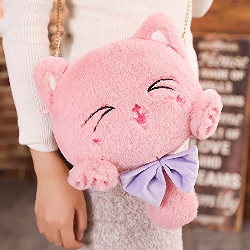 N / A Cute plush cat backpack shoulder messenger bag 4 colors plush cat toy children's little girl coin purse Christmas birthday gift children's toys 24x20cm