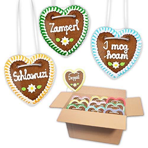 20x Lebkuchen Herz im Mischkarton 10cm - Premiumqualität - versch. freche bayerische Sprüche | lustige Sprüche bayerisch | Oktoberfest Lebkuchenherzen bestellen von LEBKUCHEN WELT