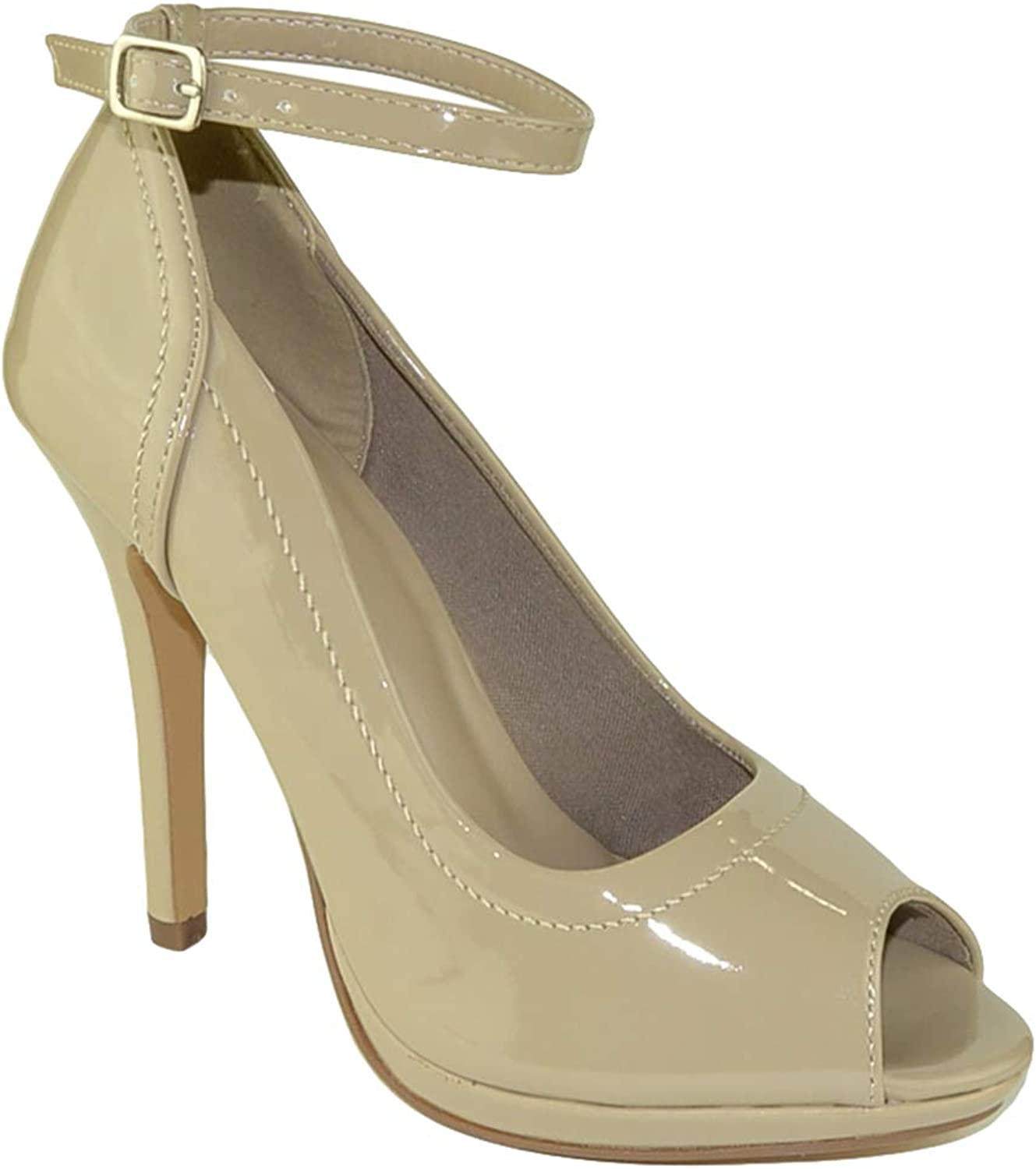 FL By KSC Womens Dress shoes Stiletto Tonal Stitch Peep Toe Pumps Taupe