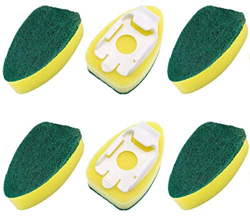 6 piezas de recambio de varita de plato de repuesto para lavar el lavavajillas de las cabezas de esponja de varita cepillo almohadillas de cocina fregadero herramienta de limpieza para la sala de