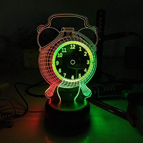 Alarm Clock 3D Vision Night Light Creative Colorful Led Stereo Kids Table Lamp Usb Led Lovely cartoon children's toys