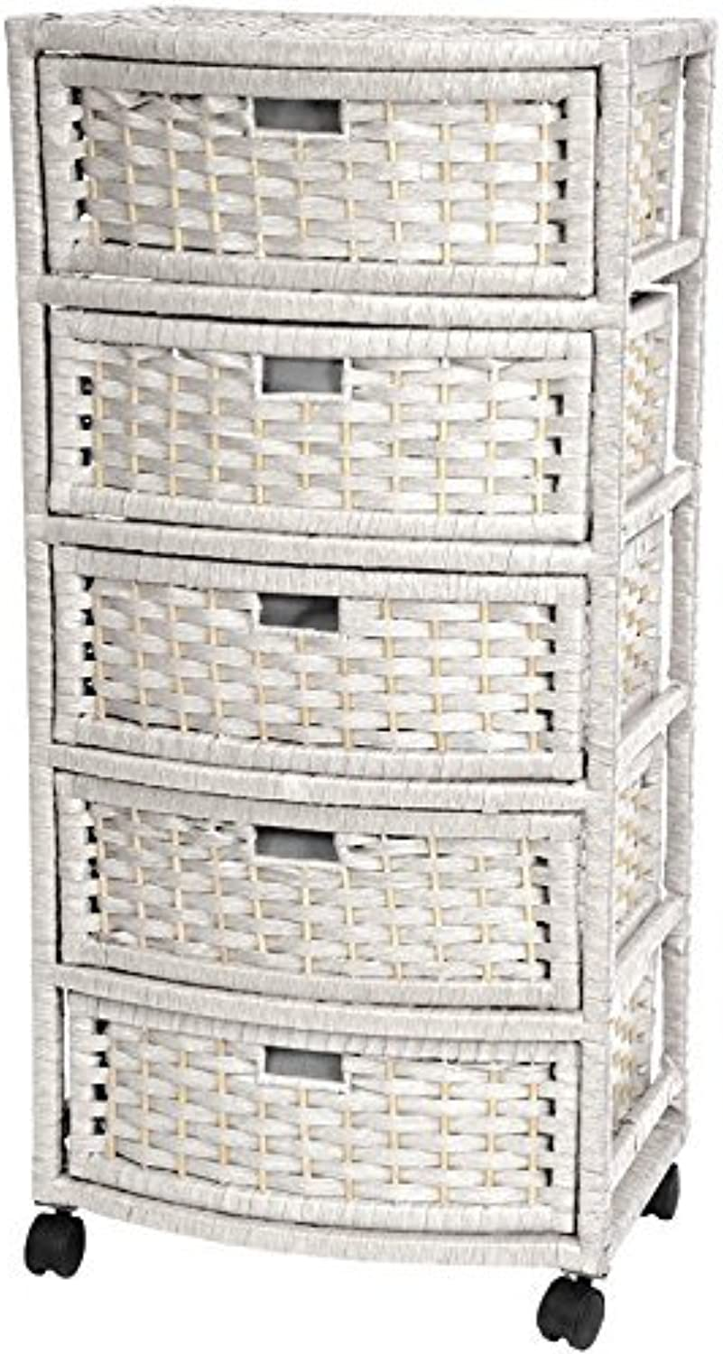 Oriental Furniture Extra Tall Design End Table Nightstand, 37-Inch 5 Drawer Natural Fiber Rattan Look Storage Chest, White
