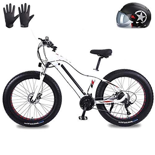Mountain bike elettrica, BICICLETA DE MONTAÑA ELÉCTRICA Pneumatico FAT PRENO PARA Adultos, Bicicletas de Nieve 48 V 20Ah Li-Battery 1500W, Bicicleta de Playa de Aleación de Aluminio de 27 Velocidades,