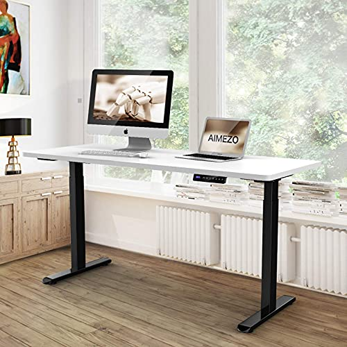 AIMEZO Höhenverstellbarer Schreibtisch 2 Motoren Schreibtisch Höhenverstellbar Elektrisch Standing Desk 2-Bühne Kollisionsschutz Memory Funktion(Schwarz)