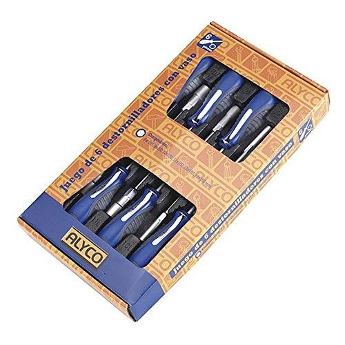 Alyco 119085 119085-Juego 6 Destornilladores con Vaso Hexagonal 6,8,10,11,12 y 13 en Caja de Carton