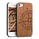 kwmobile Schutzhülle kompatibel mit Apple iPhone SE (1.Gen 2016) / 5 / 5S - Hülle Handy aus Holz - Cover Hülle Handyhülle Kompass Hellbraun
