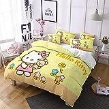 NICHIYO Hello Kitty - Juego de ropa de cama (funda nórdica y funda de almohada, microfibra, impresión digital 3D, 3 piezas, funda de edredón + fundas de almohada) (2 Doubie 200 x 200 cm)