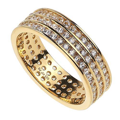 Damen Memory-Ring echt Silber 925 mit Zirkonia weiß Band-Ring vergoldet 66/21.0 mm