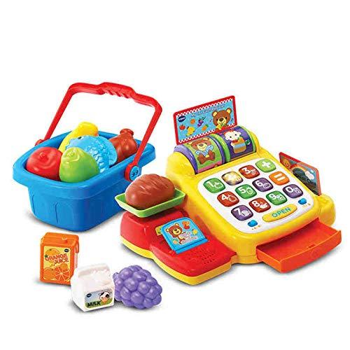 ZDAMN Juguetes para la caja registradora de juegos para niños, juegos de rol, supermercado, caja registradora de compras, juguetes para niños (color: amarillo, tamaño: como se muestra)
