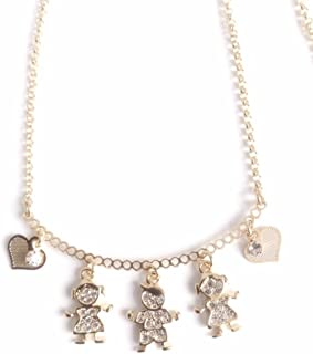Gargantillas de mujer 18k gold plated 17.2 inches chain boy and girl pendants choker necklace