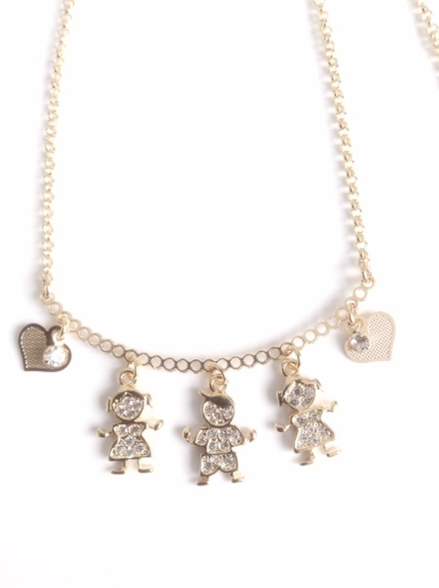 Gargantillas de Mujer 18k Gold Plated 17.2 Inches Chain Boy Girl Pendants Choker Necklace